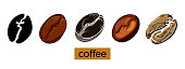 Set of coffee beans on white background. Vector