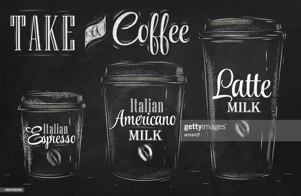 Set of Coffee drinking cup sizes chalk