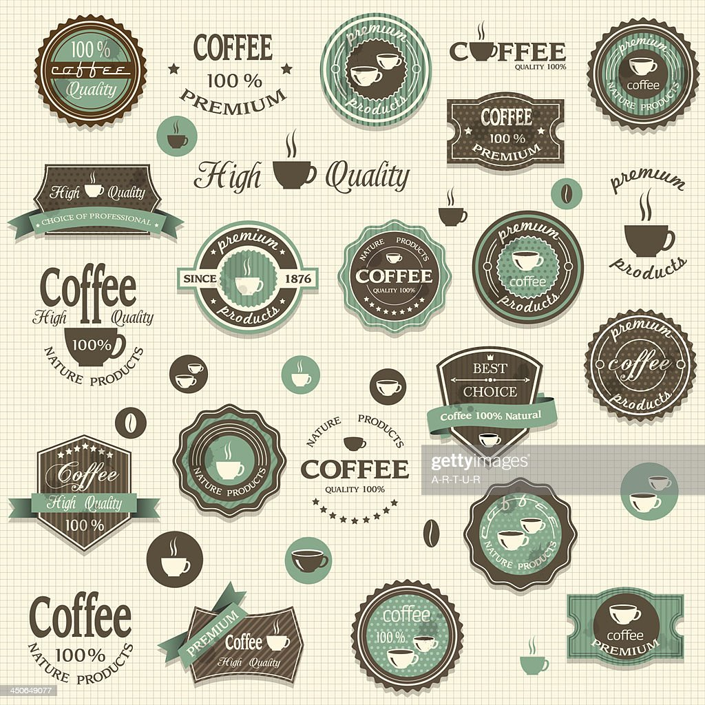 Set of coffee labels on beige background