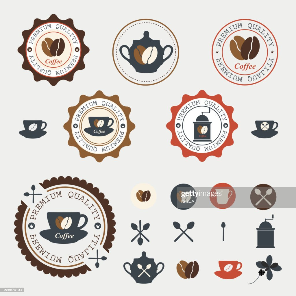 Set of coffee labels.