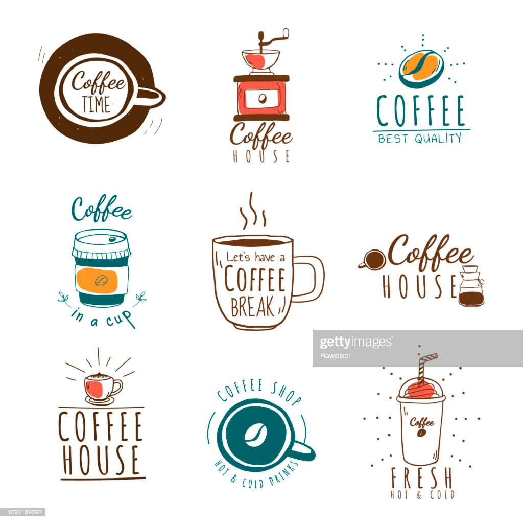 Set of coffee shop theme icons vector