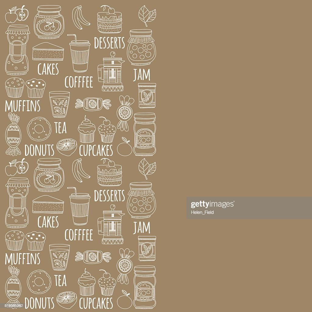 Set of coffee, tea, and food icons Doodle style
