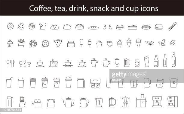 Set of Coffee, Tea, Drink, Snack,  and Cup icons. vector