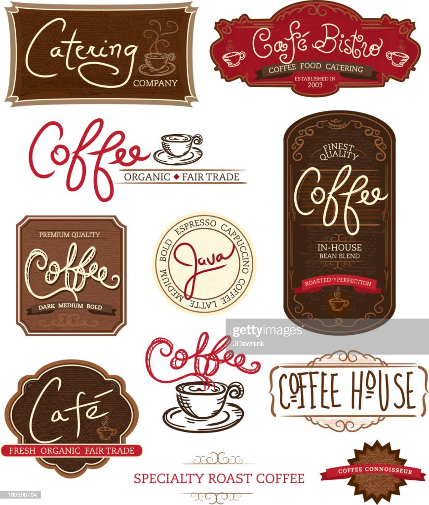 Set Of Coffee Themed Labels On White Background High-Res