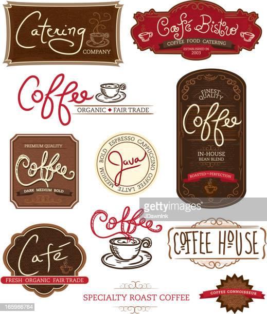 Satz von Kaffee-Themen-labels auf weißem Hintergrund