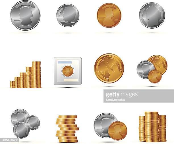 set of coin icons with shadows - change stock illustrations