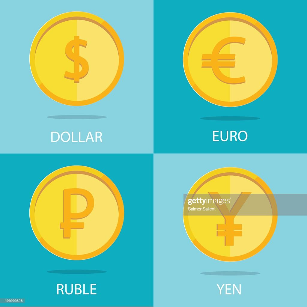 set of  coins on colorful background, euro, dollar, ruble, yen