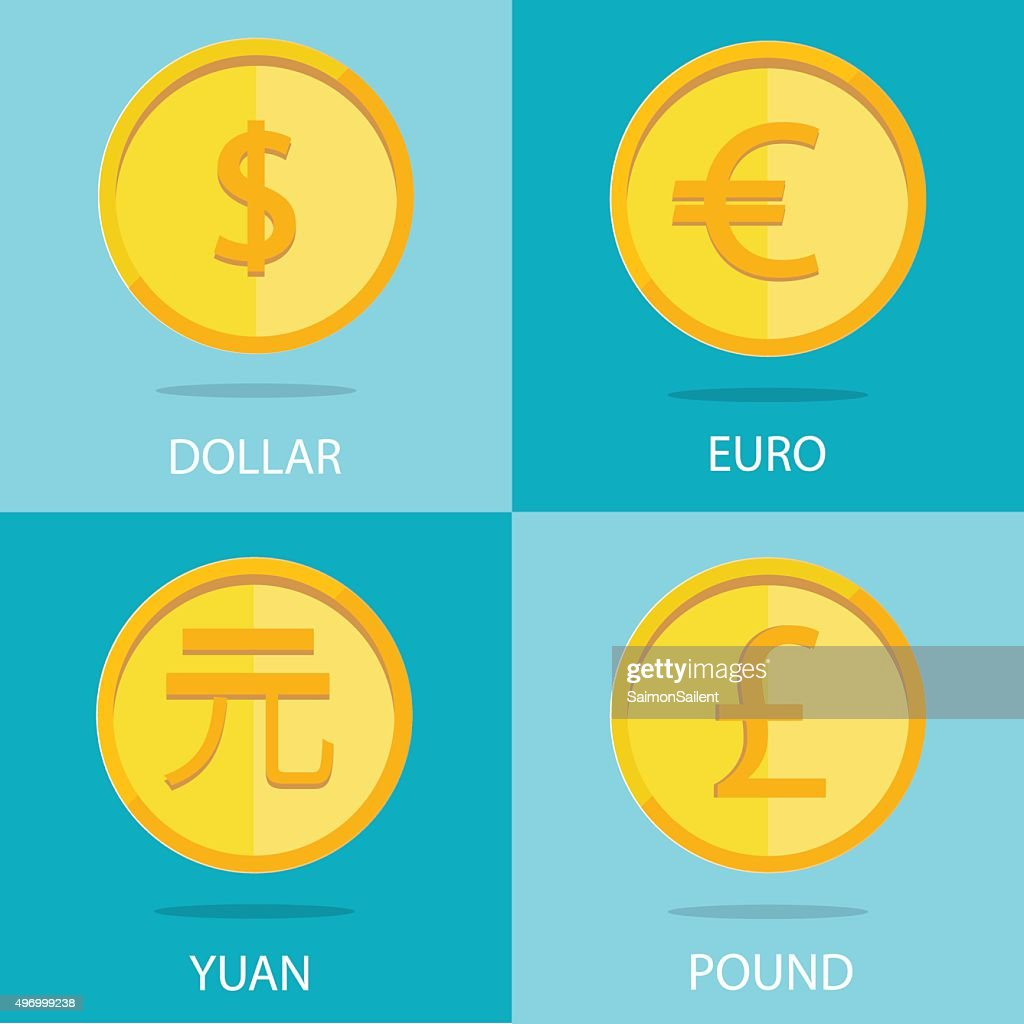 set of  coins on colorful background, euro, dollar, yuan, pound