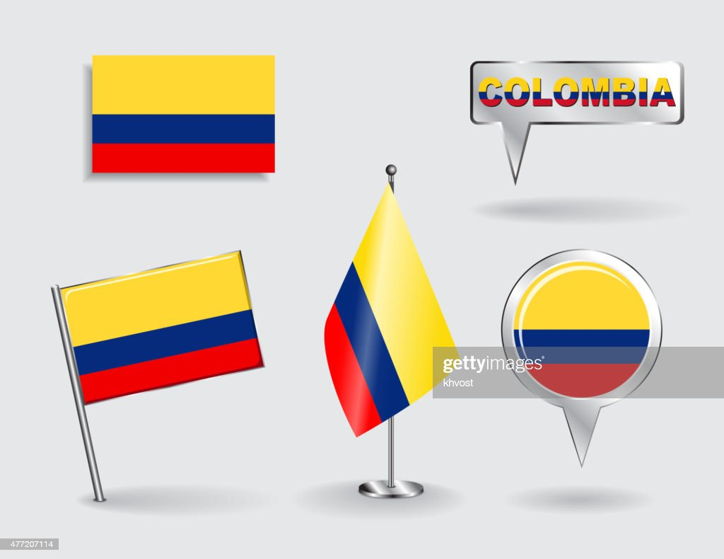 Set of Colombian pin, icon and map pointer flags. Vector