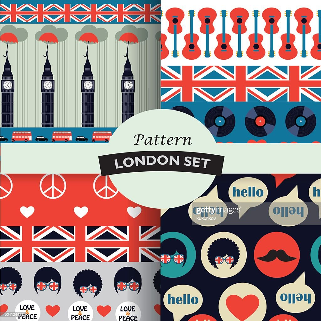 set of color british hipster patterns