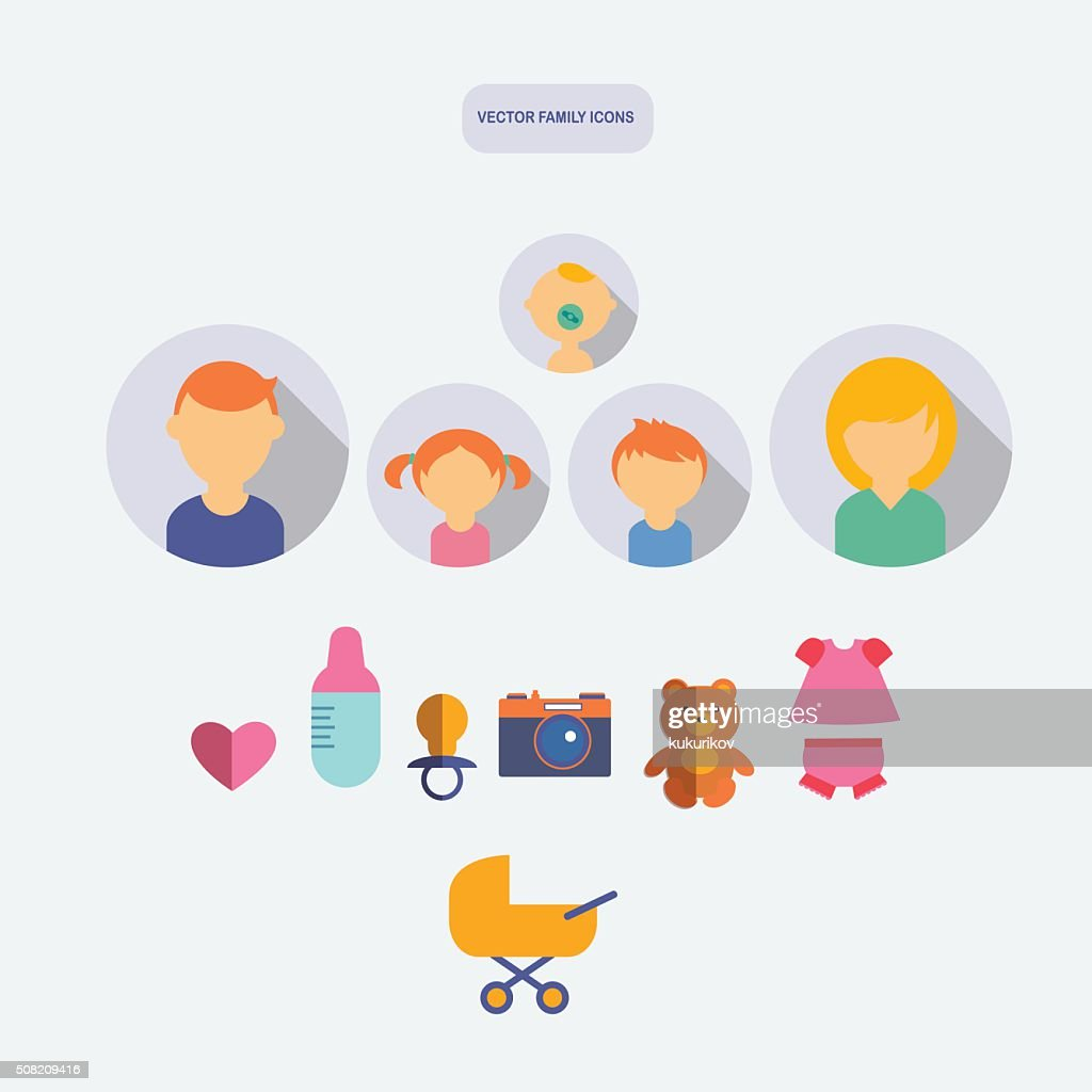 set of color flat family vector icons with newborn