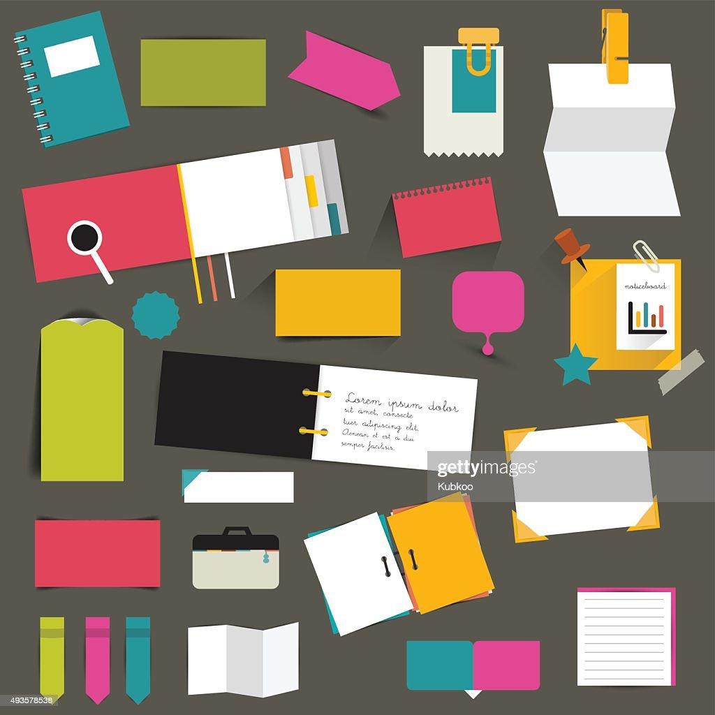Set of color flat reminder stickers. Infographic set.