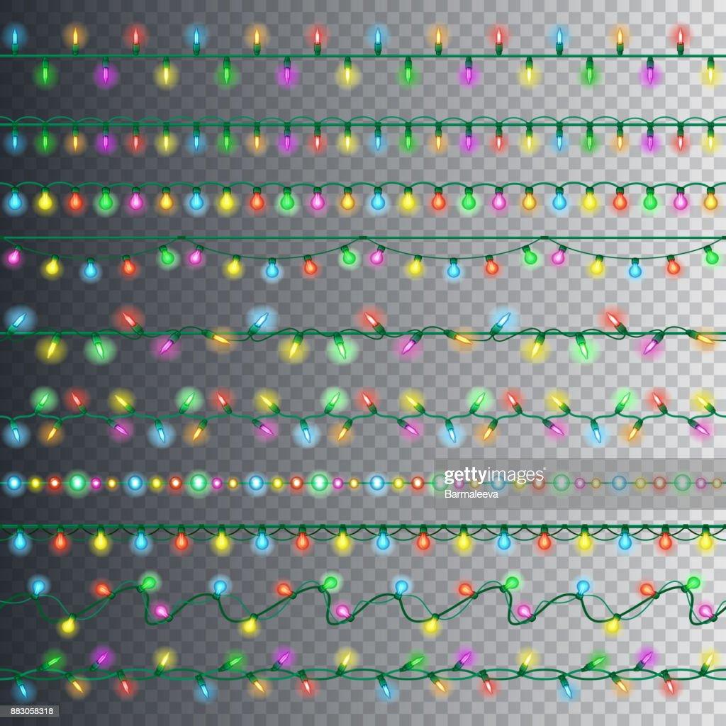 Weihnachtsbeleuchtung Kranz.Satz Von Farbe Kranz Leuchtet Leuchtende Weihnachtsbeleuchtung Auf