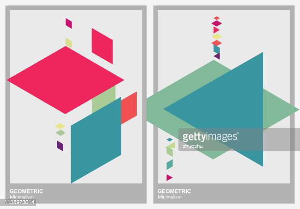 set of color geometric minimalism triangle pattern background - rhombus stock illustrations