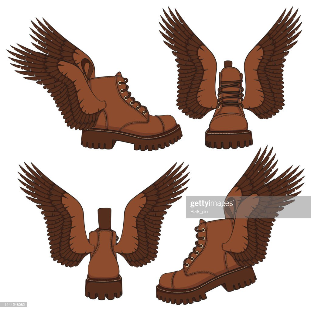 Set of color illustrations of brown boots with wings. Isolated vector objects.