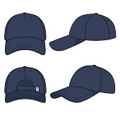 Set of color illustrations with a blue denim baseball cap. Isolated vector objects.
