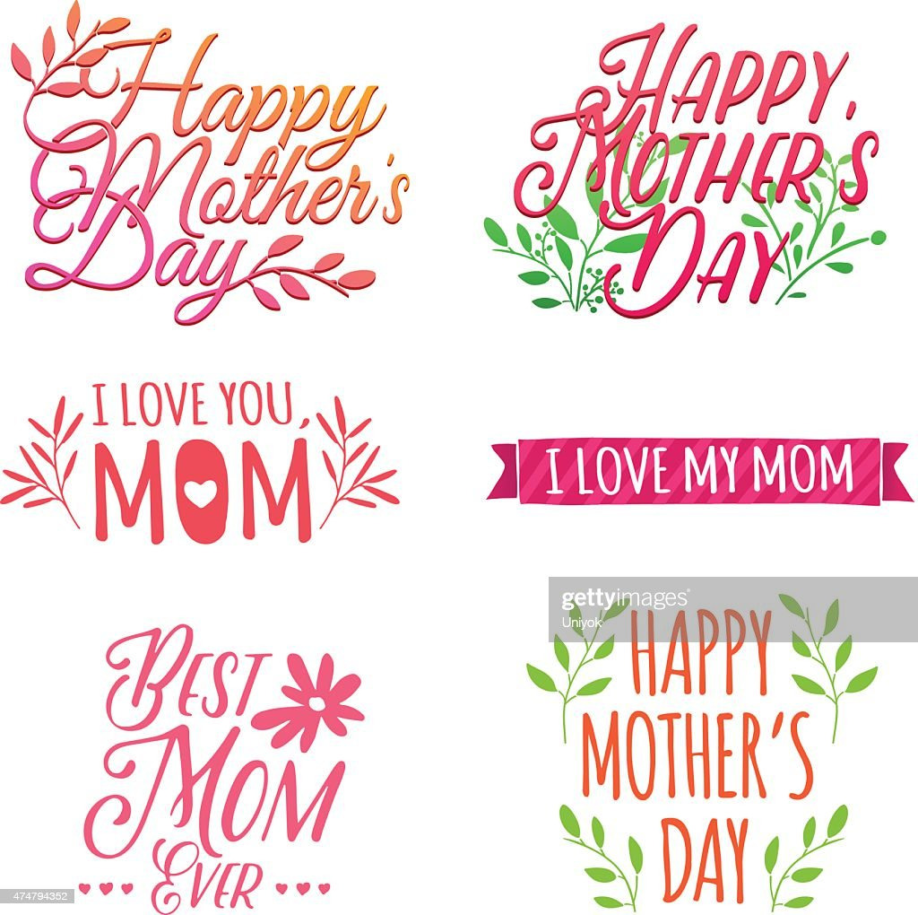 Set of color logos, labels, signs to celebrate Mother's Day.
