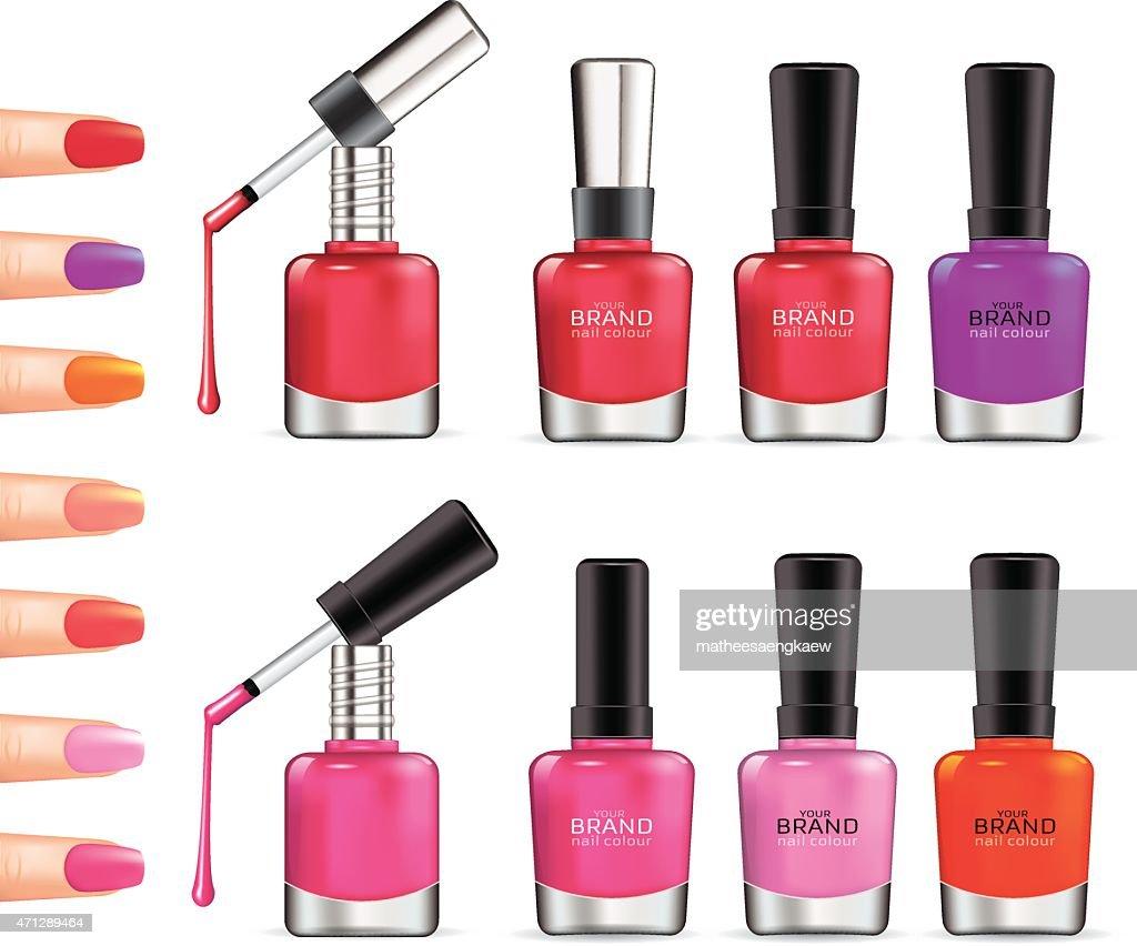 Set of color nail polish.