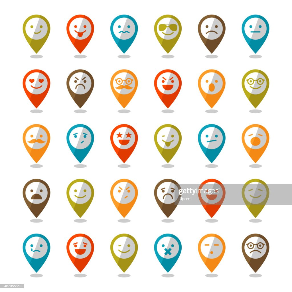 Set of color smiley icons, mapping pins