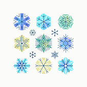 Set of color stylized and textured snowflakes, Christmas and New Year design elements, decorations.