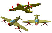 """Set of color vector military airplanes on a white background. Low poly style. Aircraft of """"nWorld War II. Stock vector illustration"""