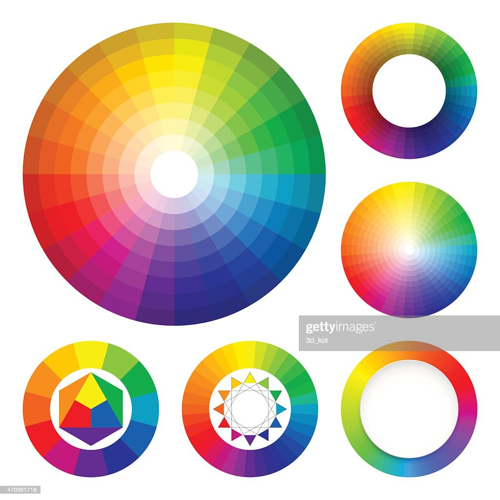 Set of color wheels. Color harmony. Color theory