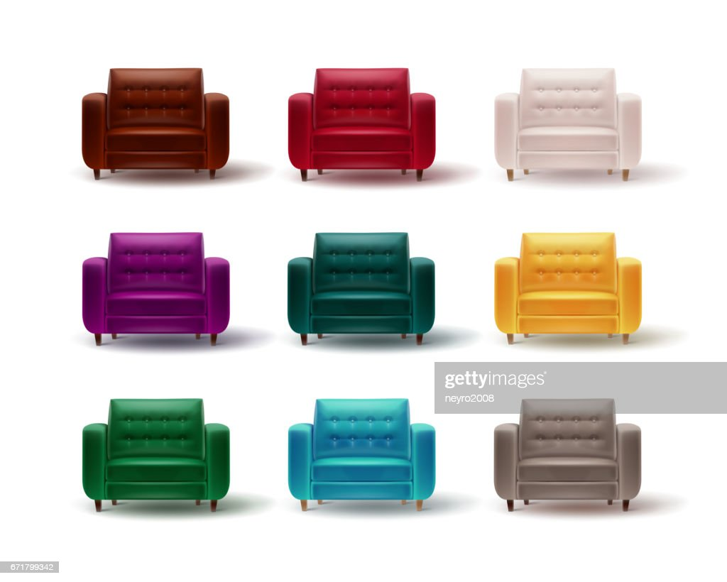 Set of colored armchairs