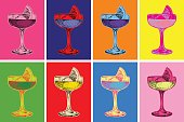 Set of Colored Cocktails Vector Illustration