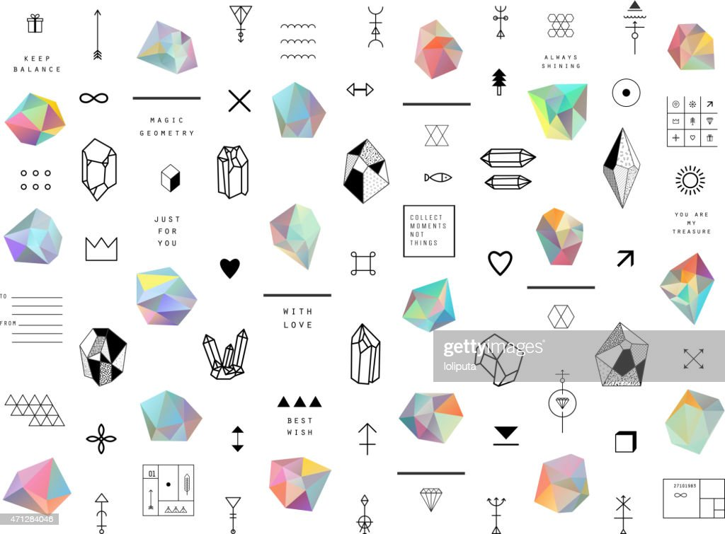 Set of colored crystals in polygon style with geometric shapes.