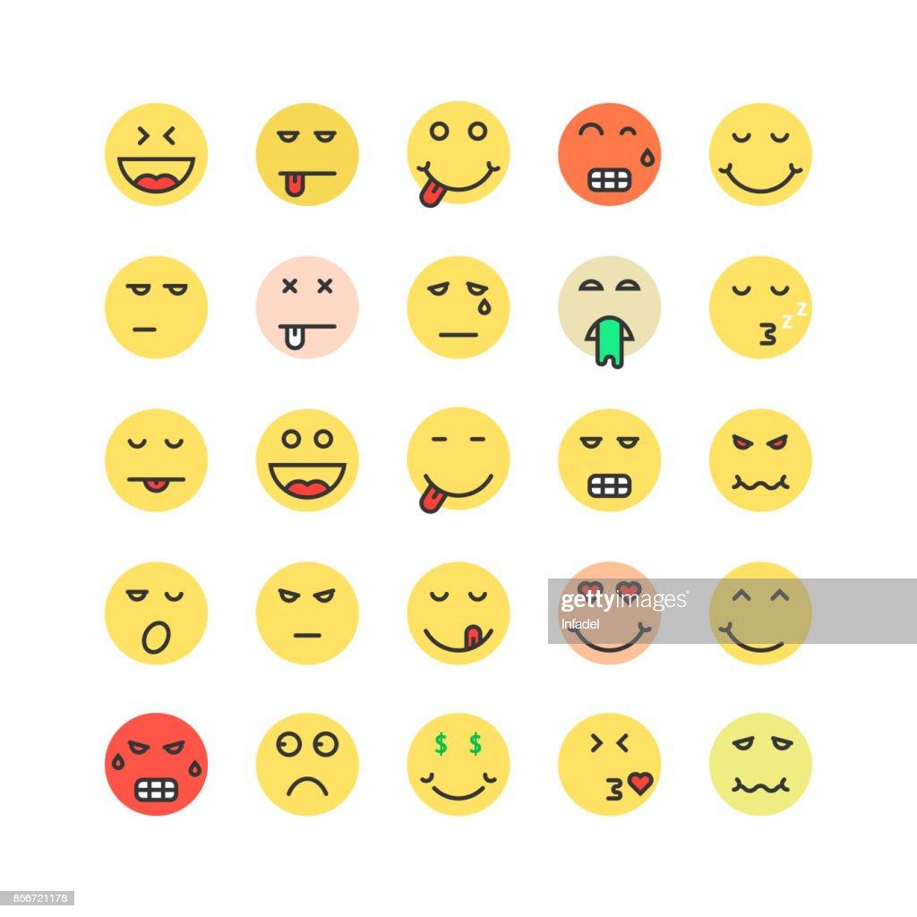 set of colored emoji icon