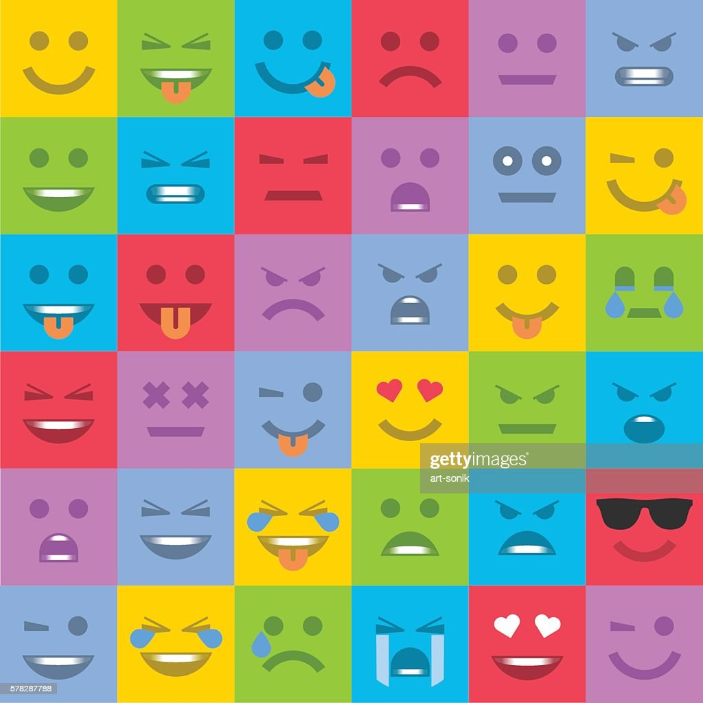 Set of colored emoticons