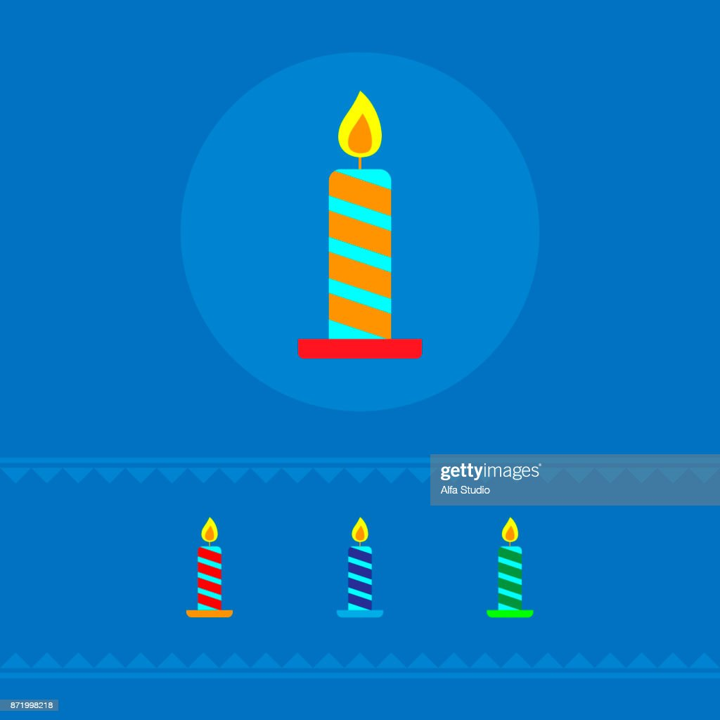 A set of colored festive candles. The concept of a holiday. Vector illustration.