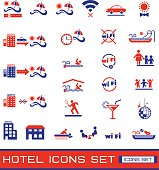 Set of colored hotel icons