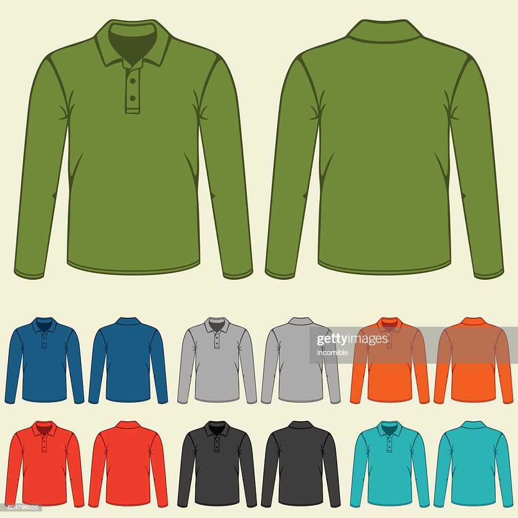 Set of colored polo t-shirts templates for men