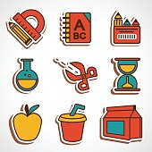 A set of colored school icons