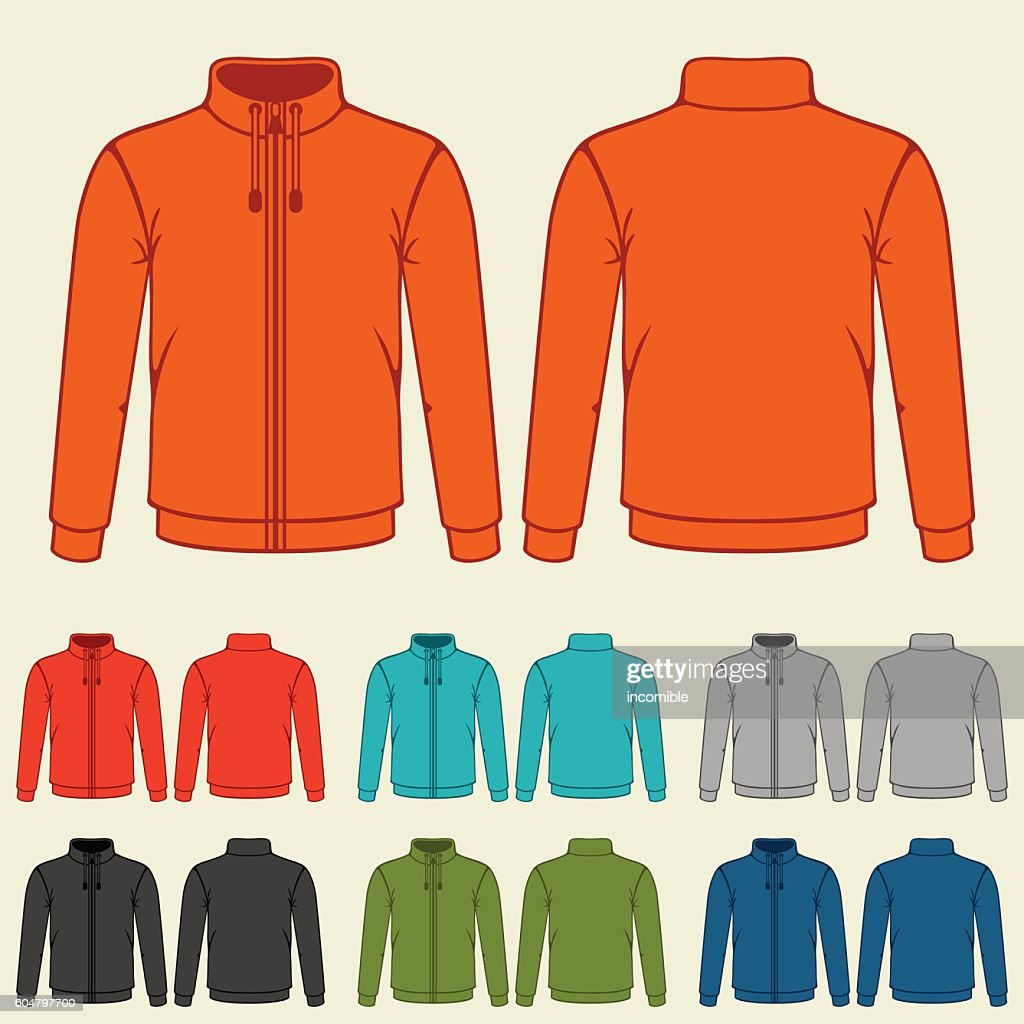 Set of colored sports jackets templates for men
