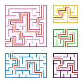 set colored square rectangular labyrinths with