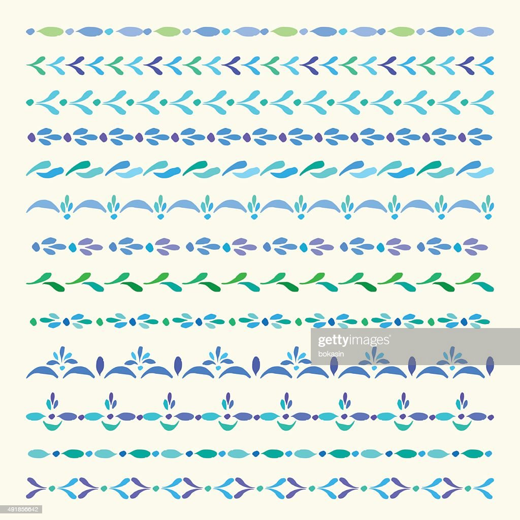 Set of colored vector ornamental borders and pattern brushes