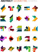 Set of colorful abstract geometric shapes