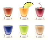 Set of colorful alcohol shots drink