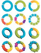 Set of colorful arrow circles on white background
