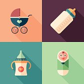 Set of colorful baby flat square icons with long shadows.