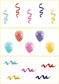 Set of Colorful Balloons and Ribbons
