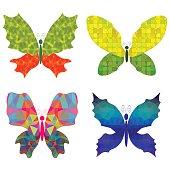 Set of Colorful Batterflies