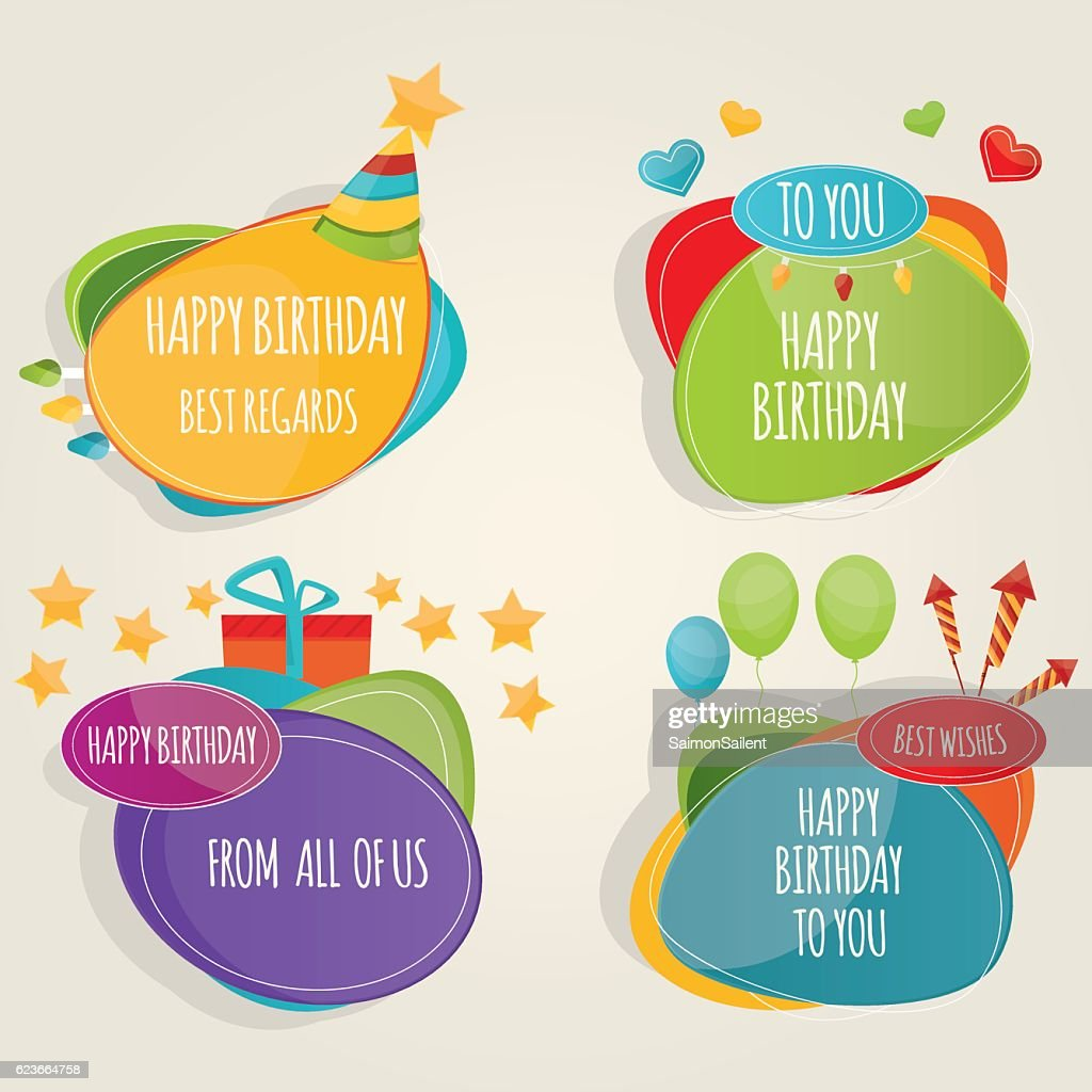 Set of colorful birthday party design elements
