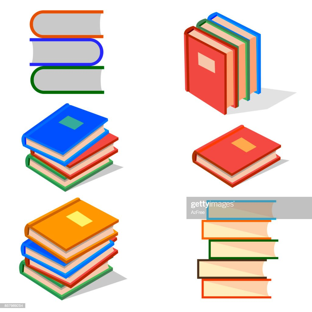Set of colorful books. icon vector