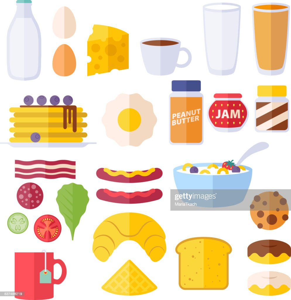 Set of colorful breakfast icons.