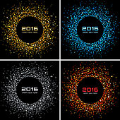 Set of Colorful Bright New Year 2016 Backgrounds