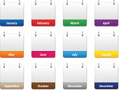 Set of colorful calendar icons with months of the year