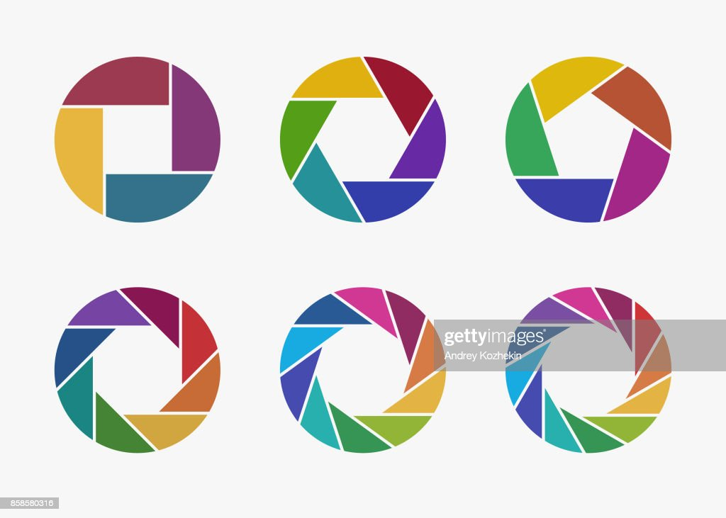 Set of colorful camera lens aperture icons.